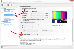 NVIDIA Control Panel / Adjust Desktop Color Settings / Content type reported to the display